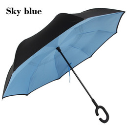 Wholesale Design Inside - Self Standing Inside Out Inverted Umbrellas Double Layer Reverse Rainy Sunny Umbrella with C Handle Special Design wa3232