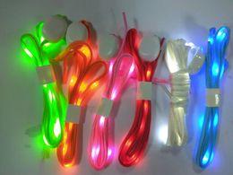 Wholesale Led Light Up Shoes Shoelaces - New LED Lamp beads Flashing Shoe Lace Fiber Optic Shoelace Luminous Shoe Laces Light Up Flash Glowing Shoeslace Disco Party