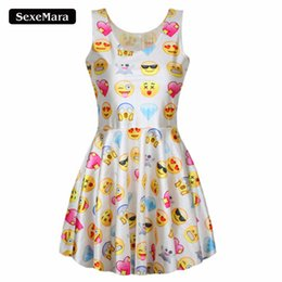 Wholesale Sexy Club Jumpers - Wholesale- Summer Style Women Dress Sexy Cute Easiness Printed Emoji Dresses Jumper Fashion O-Neck Vestidos Ladies Cute Kawaii Dress F169