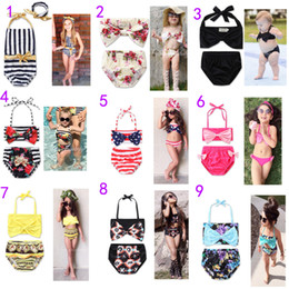 Wholesale Swimsuits Bows - 2017 Newest 13 Styles Baby Girls Swimwear Summer Kids Bikini Swimsuit bow printing Children Bathing Suit Kids Girls Swimming Suit