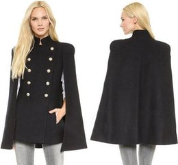 Wholesale Double Breasted Wool Coat Women - New Best Wool Outerwear Coats With Batwing Sleeve Black Women's Double Breasted Capes Wool Blend Coat Cappa Jacket Cloak M- 2XL