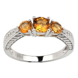 Wholesale Natural Citrine Rings - Natural Yellow Citrine 925 Sterling Silver Ring Women Round Shape 3-stone Crystal November Birthstone Gift R158GCN