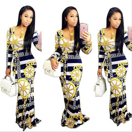 Wholesale Elegant Maxi Long Sleeve - 2017 Summer Dashiki maxi dress Traditional African Print long Dress Dashiki Elastic elegant Bodycon vintage Dresses 9535W