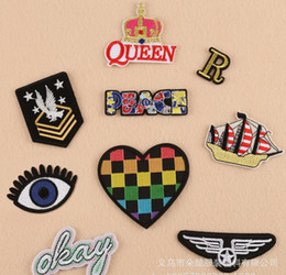 Wholesale Iron Patches Crowns - R PEACE letter crown iron on patches fabric Applique eye badge clothing accessori DIY applique biker vest embroidered wholesale