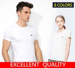 Wholesale Short Tops Summer Women - Hot Sale 2017 Fashion Summer T Shirt Women Short Sleeved Men Top quality Crocodile EmbroideryCasual Tees Tops Brand T-Shirts Men Clothing