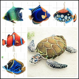 Wholesale Turtles Stuffed Toys - 6 Styles 45cm Creative Big Simulated Sea Animal Fish Plush Toy 3D Realistic Stuffed Fishes Turtle Doll Kids Xmas Gifts CCA8259 100pcs