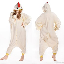 Wholesale Chicken Costume White - White Chicken Animal Costume Kigurumi Pajamas Cosplay Halloween Suits Adult Romper Cartoon Jumpsuits Unisex Animal Sleepwear