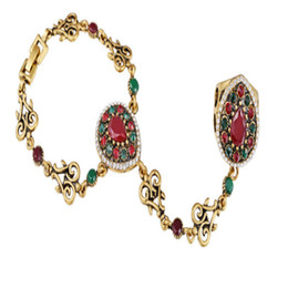 Wholesale Vintage Slave Bracelet - 2 Pcs New Boho Wedding Turkish Jewelry Vintage Bracelet Luxury Gold Plating Slave Bracelets For Women Bijoux Pulseras