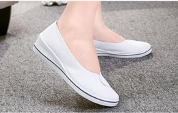 Wholesale White Nurses Shoes - Spring And Autumn Women Work Shoes Women Loafers White Black Comfortable Nurse Shoes European shoe size: 35-40