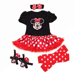 Wholesale Infant Christmas Dress Set - Wholesale- Christmas 2016 Newborn Minnie Dress 4pcs set Baby Girls Clothes Toddler Girl Clothing Set Infant Minnie Mouse Costume Xmas Gifts