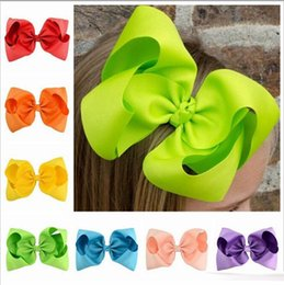 Wholesale Grosgrain Ribbon Boutique - Baby 8 Inch Large Grosgrain Ribbon Bow Hairpin Clips Girls Large Bowknot Barrette Kids Hair Boutique Bows Children Hair Accessories