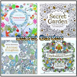 Wholesale Dreams Book - Adult Coloring Books 4 Designs Secret Garden Animal Kingdom Fantasy Dream and Enchanted Forest 24 Pages Kids Adult Painting Colouring Books