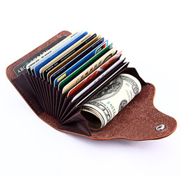 Wholesale Cheap Leather Handbags For Women - Cow leather Card holder Bank cards handbags Wallet for women men Organ 15 blocks Anti-RFID Button close 6 colors 2017 new hotsale cheap