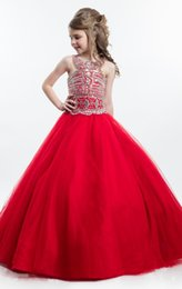 Wholesale Elegant Evening Kids Dresses - Elegant Red Girls Pageant Dresses 2017 High Quality Beaded Sequins Ball Gowns Kids Evening Gowns Prom Graduation Gowns Children Birthday