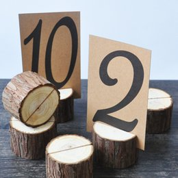 Wholesale Rustic Wedding Table Numbers - Wholesale- 10 Pieces Rustic Wedding Table Number Holder, Wooden Numbers Table,Tablen Number Stand, Rustic Wedding Decor, Table Number