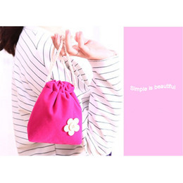 Wholesale Candy Rose Clothing Wholesale - Cute Flowers Rose Red Candy Drawstring Pouch Velvet Purse Storage Bag Pouch 1pc