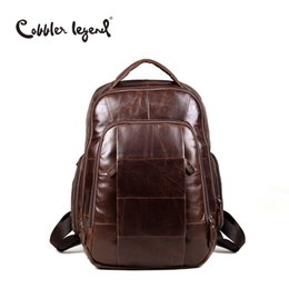 Wholesale Cow Leather Backpack - Wholesale- Cobbler Legend Brand 2016 RetroStyle Charming Head Layer Cow Leather Teenage Boys's Men 's Laptop Bag Backpacks For Men #7101805