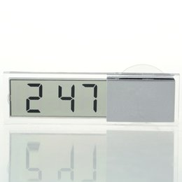 Wholesale Digital Transparent Clock - Wholesale-1pcs Mini Durable Transparent Car Electronic Clock LCD Display Digital with Sucker Free Shipping hot