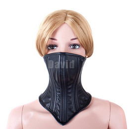 Wholesale Locking Belt Bondage - Hot Black Leather Muzzle Mask For Sex Slave Adjustable Straps Buckle Belt Chin Lock Bondage BDSM Kinky Sex Product