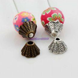 Wholesale Bead End Caps Cones - 400pcs 8x8.6mm Antique Silver Bronze Alloy Cone End Caps Bead Cap Jewelry Findings Components L1046 wholesale