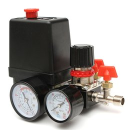 Wholesale Valve Hand - 125PSI Air Compressor Pressure Valve Switch Manifold Relief Regulator Gauges 240V 16 x 10.5 x 13cm Promotion