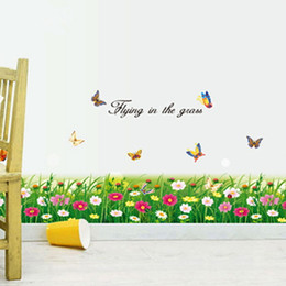 Wholesale Decorative Flowers For Kids Room - Flowers Clusters Wall Stickers Removeable Wallpaper Decorative Kids In Bedroom Living Room Art Decal Mural Sticker for Room Girls Adhesive