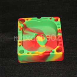 Wholesale Cigarette Ashtrays - Colorful silicone Ashtray Heat-resistant Silicone ashtrays for Home novelty crafts for cigarettes ash tray Smoking accessories gadgets