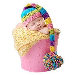Wholesale Newborn Photography Long Hat - New Handmade Knitting Soft Hat Long Tail Hat Baby Clothing Accessories For 0-3 Months Newborn Baby Photography Props