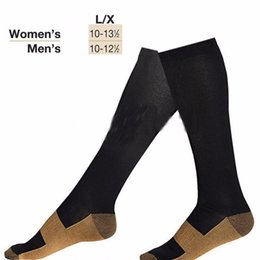 Wholesale Thigh For Men - Wholesale- 1pair Compression Stocking Slim Leg Sleep Varicose Veins Thigh High for Men and Women high quality Black colour instock