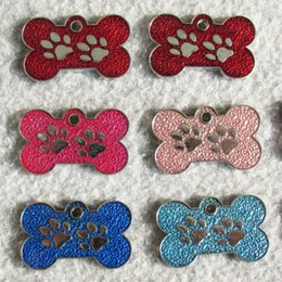 Wholesale Dog Paw Tags Wholesale - 10pcs bone and paw design Drip process Zinc alloy Blank Pet Dog ID Tags for small dogs cats