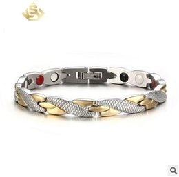 Wholesale Twisted Link Chain Stainless Steel - Vnox Twisted Healthy Magnetic Bracelet for Women Power Therapy Magnets Bracelets Bangles for Women Men