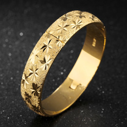 Wholesale Womens Solid Gold Bangles - Thick Wedding Bangle 18K Yellow Gold Filled Womens Bangle Bracelet Carved Star Solid Jewelry Diameter 6cm,15mm Wide