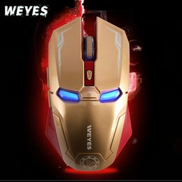Wholesale Gifts For Gamers - Retail Box New Creative Iron Man Brand Gaming Mouse Blue LED Optical USB Wired Mouse Mice For Gamer Computer Laptop PC Gift