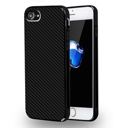 Wholesale Cheap Customized Iphone Cases - Cheap Business Carbon Fiber Weave pattern Dual Layer Tire Defender Anti-Skid Case Soft TPU Silicone Back Cover for iPhone 7 Plus 6s 6 plus