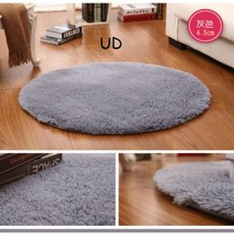 Wholesale European Floor Rugs - Wholesale Pink White Shaggy Circle Yoga Mats Solid Computer Cushions Floor Mats Round Carpets For Living Room Lovely Bedside Rugs 60-160cm