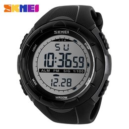 Wholesale Alarm Watch Water - Large Size Branded SKMEI Men Climbing Sports Digital Wristwatches Big Dial Military Watches Alarm Shock Resistant Waterproof Watch Saat