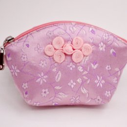 Wholesale Shell Makeup Mirror - Chinese knot Small Zipper Shell Coin Purse High End Silk Brocade Jewelry Gift Bag Candy Favor Bags Lipstick Makeup Mirror Storage Pouch