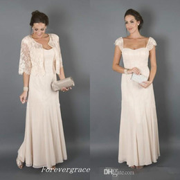 Wholesale Simple Elegant Dresses Woman - Elegant Champagne Colour With Jackets Mother of the Bride Dresses Formal Godmother Women Wear Evening Wedding Guests Dress Plus Size