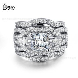 Wholesale 14kt Gold Ring Settings - Female Eternity Ring Sets 5A Zircon stone 14KT White Gold Filled Women Engagement Wedding Band Ring Sz 5-10 Gift