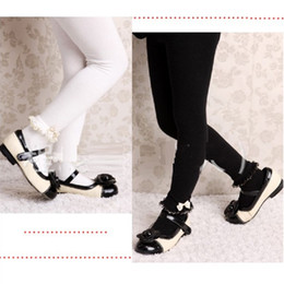 Wholesale White Cotton Baby Tights - Lace Bow Butterfly Black White Baby Girls Pantyhose 100% Cotton Soft Elastic Dancing Pants Girl Clothes Children Tights Solid