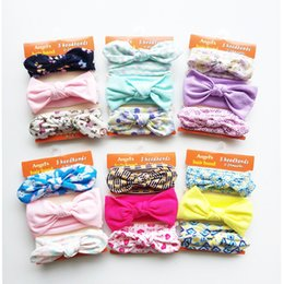 Wholesale Girls Accessories Set - 3pcs set Knitted Knot Baby Hair Headbands Bows Ribbon Bow Headbands for Girls Children Hair Accessories Kids Princess Elastic Headdress