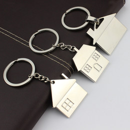 Wholesale Drop Hangers - New arrivels Lovely house keychain fashion key rings warm home key chains metal key holder woman bag charm car pendant hanger drop shipping