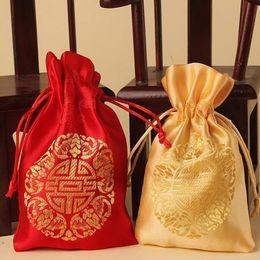 Wholesale Wholesale Chinese Satin Brocade - Chinese style originality and joyful box married joyful bag Handmade products Wedding wedding festival supplies brocade bag portable