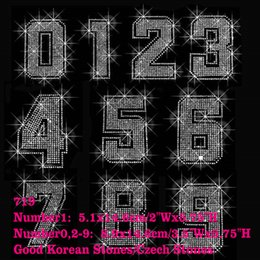 Wholesale Number Transfer - 20pcs lot ONE NUMBER piece Large Jersey Number 0-9 YOU CAN CHOOSE Bling Bling Rhinestone Iron On Transfers Hotfix For Shirt