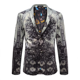 peacock flying Coupons - Light Grey Slim Fit Suits For Men Peacock Parrot Pattern Stage Wear Vintage Wedding Mens Skinny Suit M-3XL (Blazer+Pants+Shirts)