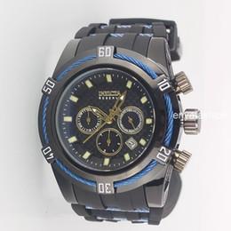 Relojes analógicos de gran deporte online-Subdials de alta calidad Work Invicta Reserve Relojes suizos del cronógrafo Relojes de lujo del big bang Hombres de los deportes Reloj de cuarzo Reloj militar analógico Army WatchWorld