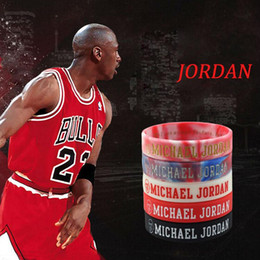 Wholesale Basketball Wristbands - 2pcs sport silicone bracelet Debossed head basketball men wristband Glow in the dark rubber bangle with 5colors