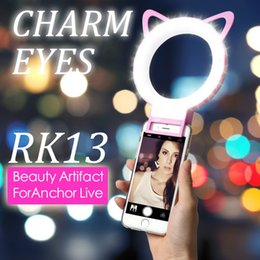 Wholesale Pink Eye Photos - Charm Eyes Selfie Ring Light RK13 Clip Mini Cat Ear LED Selfie flash light Rechargeable Lamp Beauty photo Selife Fill-light for Smartphones