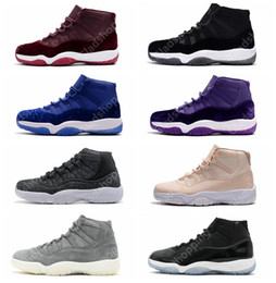 Wholesale Velvet Fabrics - 11 Velvet Heiress Wool Grey Suede Space Jams 72-10 Legend Blue Men Women GS Sports Basketball Shoes Sneakers 11s Athletics With Box