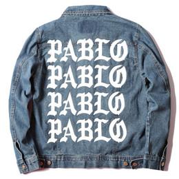 Wholesale Life Jackets Pockets - fashion hot sale Kanye West Pablo Denim Jackets Men The Life Of Pablo kanye Brand Clothing Streetwear Jeans Jackets I Feel Like Kany